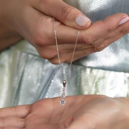 Starlight Diamond 3'lü Damla Tasarım 925 Ayar Gümüş Kadın Kolye - Thumbnail