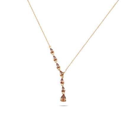 Starlight Diamond Damla Kesim Zultanit Taşlı Rose Renk 925 Ayar Gümüş Kadın Kolye - Thumbnail