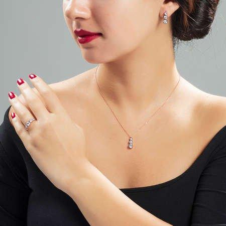 Starlight Diamond Elmas Montür Rose Renk 925 Ayar Gümüş 3'lü Takı Seti - Thumbnail