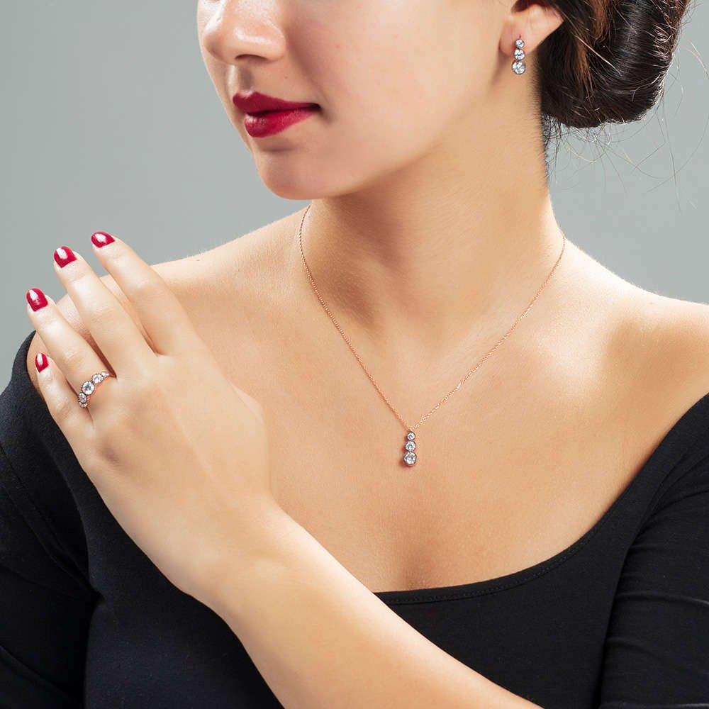 Starlight Diamond Elmas Montür Rose Renk 925 Ayar Gümüş 3'lü Takı Seti