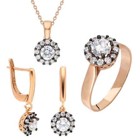 Starlight Diamond Elmas Montür Tektaş Gold Renk 925 Ayar Gümüş 3'lü Takı Seti - Thumbnail