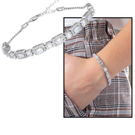 Starlight Diamond Pırlanta Montür 925 Ayar Gümüş Baget Taşlı Su Yolu Bileklik - Thumbnail