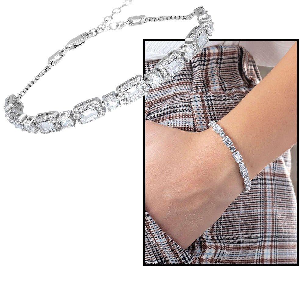 Starlight Diamond Pırlanta Montür 925 Ayar Gümüş Baget Taşlı Su Yolu Bileklik