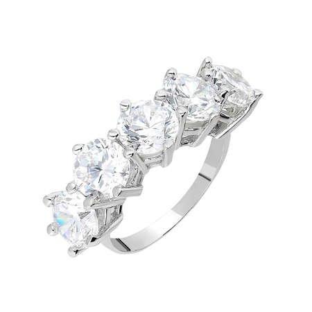 Starlight Diamond Pırlanta Montür 925 Ayar Gümüş Bayan Baget Yüzük - Thumbnail