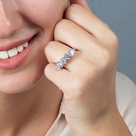 Starlight Diamond Pırlanta Montür 925 Ayar Gümüş Bayan Beştaş Yüzük - Thumbnail
