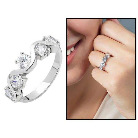 Starlight Diamond Pırlanta Montür Asimetrik 925 Ayar Gümüş Bayan Beştaş Yüzük - Thumbnail