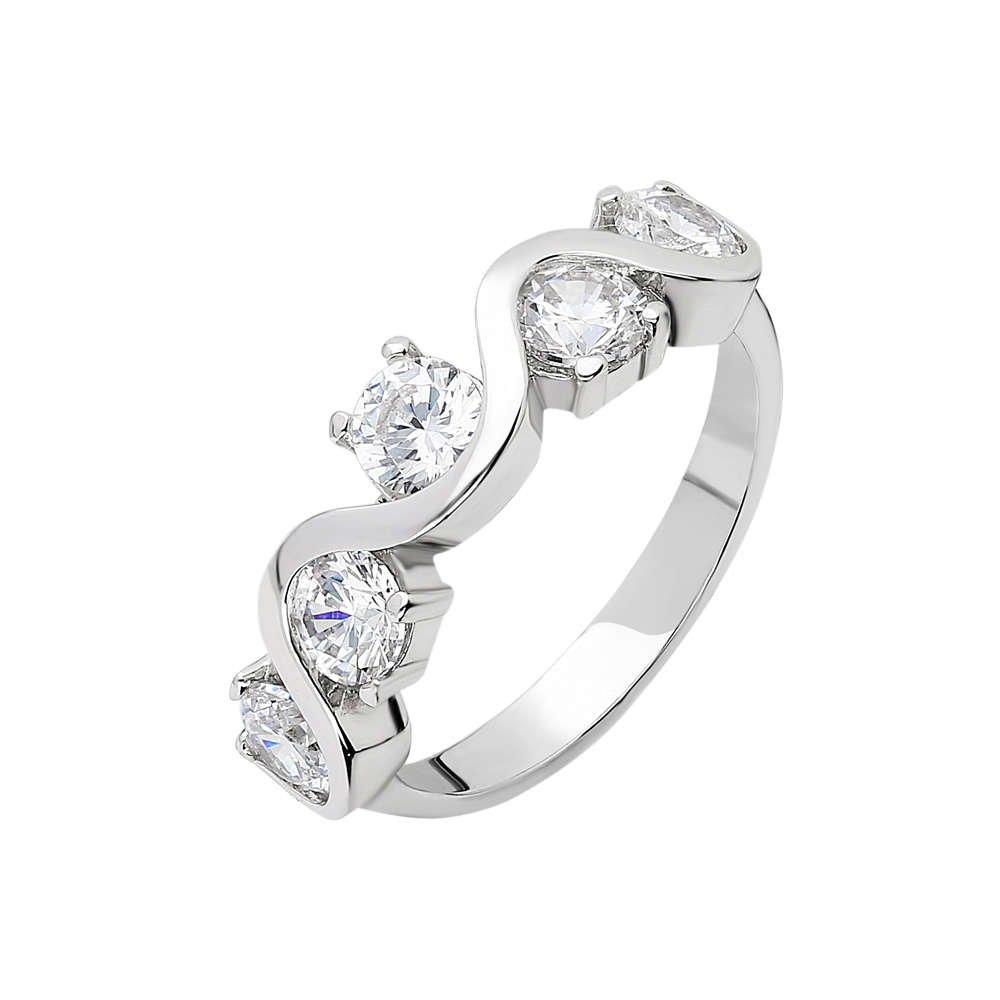 Starlight Diamond Pırlanta Montür Asimetrik 925 Ayar Gümüş Bayan Beştaş Yüzük