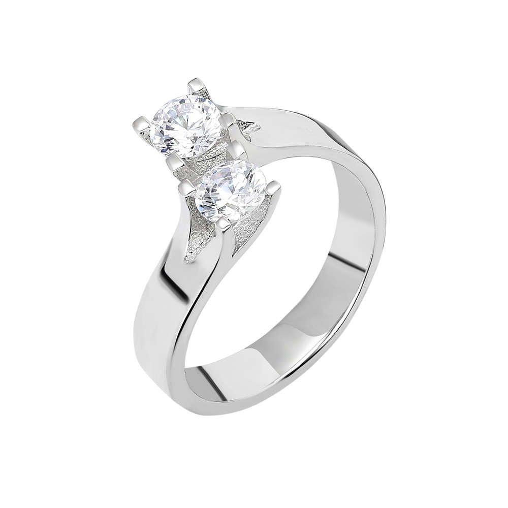 Starlight Diamond Pırlanta Montür Asimetrik 925 Ayar Gümüş Bayan Çifttaş Yüzük