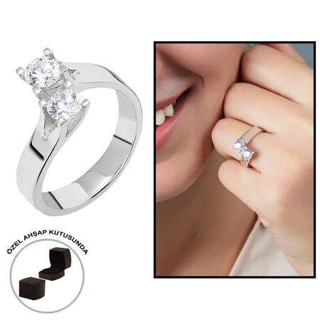 Starlight Diamond Pırlanta Montür Asimetrik 925 Ayar Gümüş Bayan Çifttaş Yüzük - Thumbnail