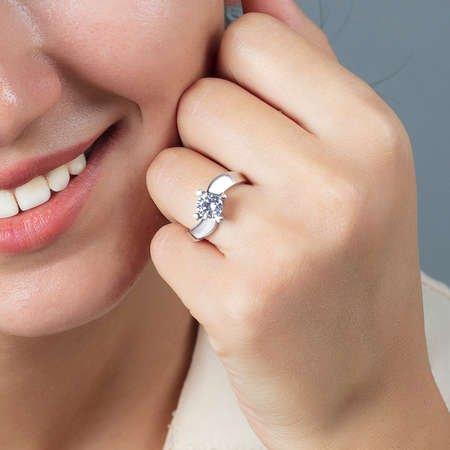 Starlight Diamond Pırlanta Montür Asimetrik 925 Ayar Gümüş Bayan Tektaş Yüzük - Thumbnail