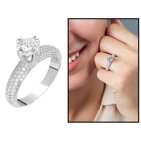 Starlight Diamond Pırlanta Montür Aşk Temalı 925 Ayar Gümüş Bayan Tektaş Yüzük - Thumbnail