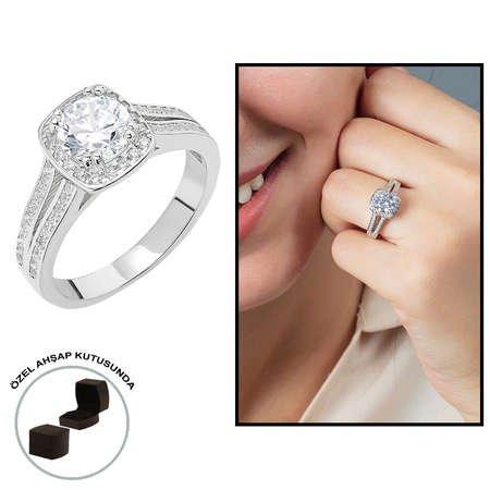 Starlight Diamond Pırlanta Montür Avangarde 925 Ayar Gümüş Bayan Beştaş Yüzük - Thumbnail