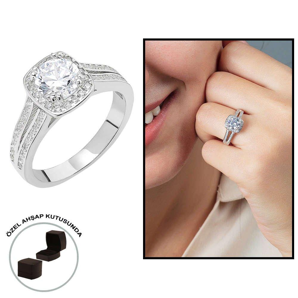 Starlight Diamond Pırlanta Montür Avangarde 925 Ayar Gümüş Bayan Beştaş Yüzük