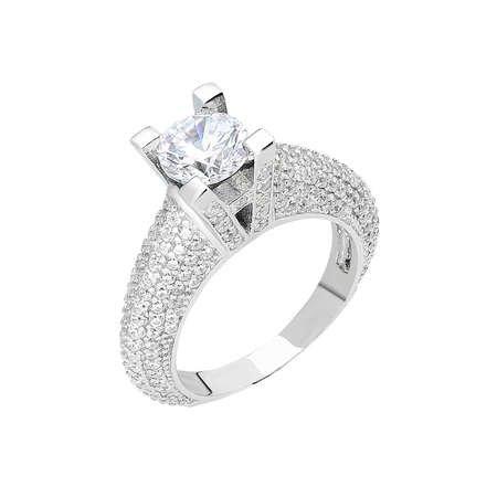 Starlight Diamond Pırlanta Montür Avangarde 925 Ayar Gümüş Bayan Tektaş Yüzük - Thumbnail