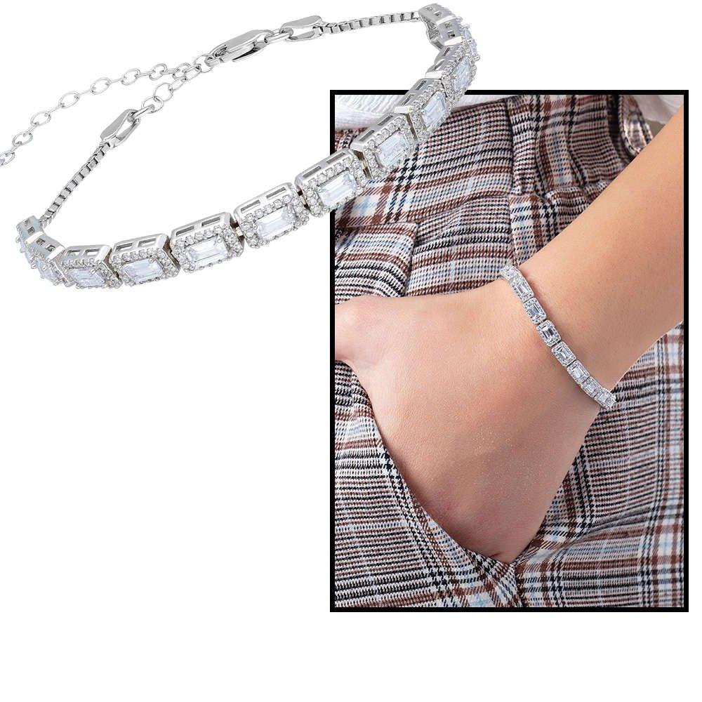Starlight Diamond Pırlanta Montür Baget Taşlı 925 Ayar Gümüş Su Yolu Bileklik