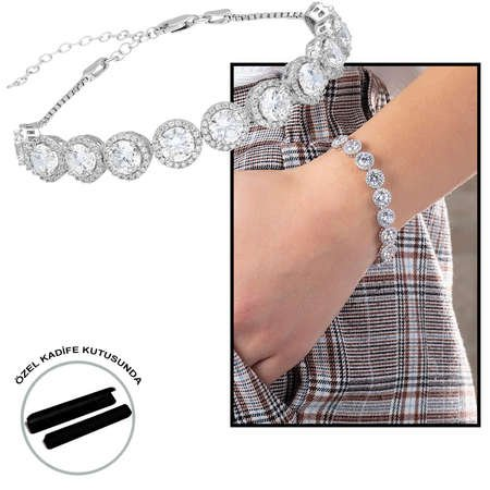Starlight Diamond Pırlanta Montür Büyük Boy 925 Ayar Gümüş Su Yolu Bileklik - Thumbnail