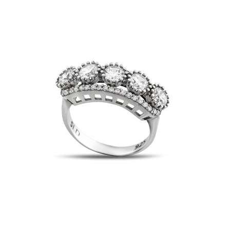 Starlight Diamond Pırlanta Montür Damla Tasarım 925 Ayar Gümüş Kadın Beştaş Yüzük - Thumbnail