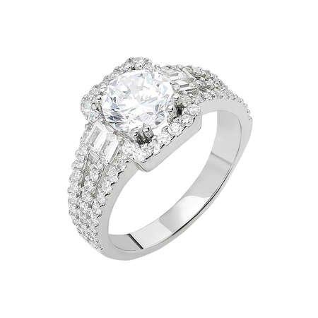 Starlight Diamond Pırlanta Montür Efektli 925 Ayar Gümüş Bayan Baget Yüzük - Thumbnail