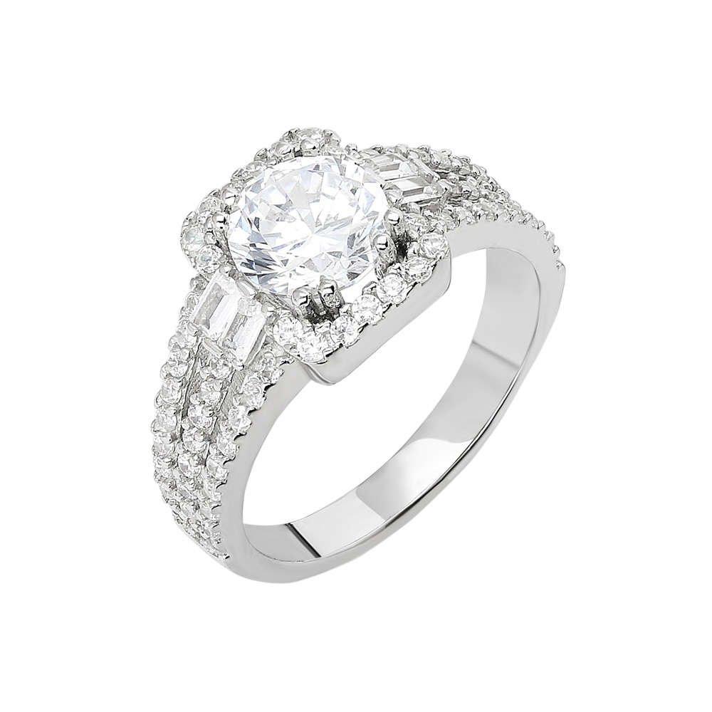 Starlight Diamond Pırlanta Montür Efektli 925 Ayar Gümüş Bayan Baget Yüzük