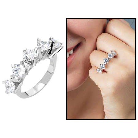 Starlight Diamond Pırlanta Montür Elegance 925 Ayar Gümüş Bayan Beştaş Yüzük - Thumbnail