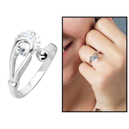 Starlight Diamond Pırlanta Montür Elegance 925 Ayar Gümüş Bayan Tektaş Yüzük - Thumbnail