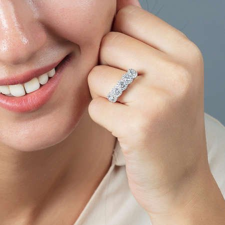 Starlight Diamond Pırlanta Montür Elit Tasarım 925 Ayar Gümüş Bayan Beştaş Yüzük - Thumbnail