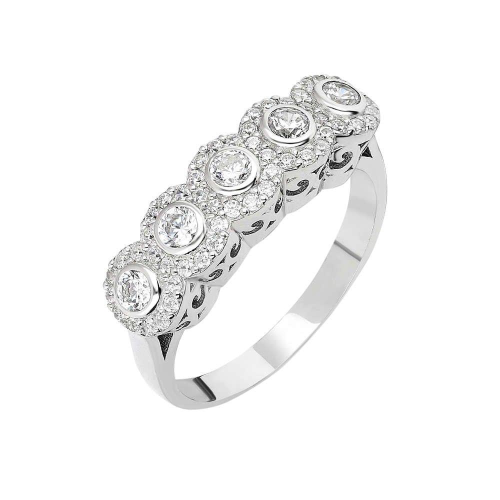 Starlight Diamond Pırlanta Montür Elit Tasarım 925 Ayar Gümüş Bayan Beştaş Yüzük