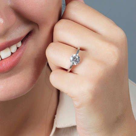 Starlight Diamond Pırlanta Montür Elmas Görünüm 925 Ayar Gümüş Bayan Tektaş Yüzük - Thumbnail