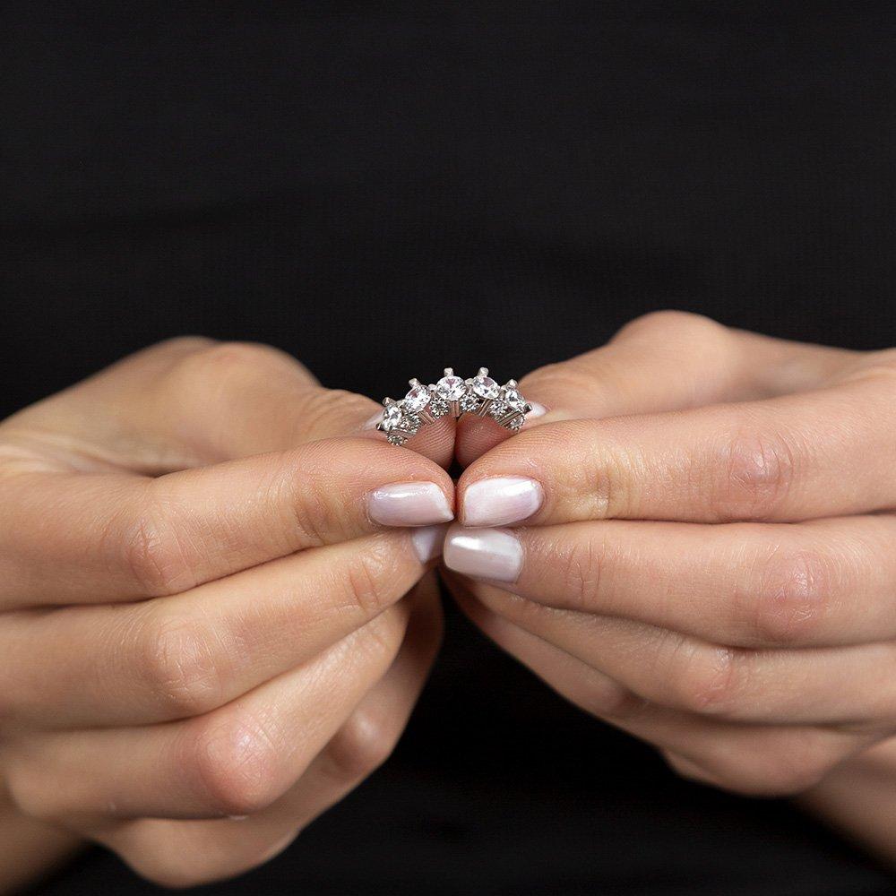 Starlight Diamond Pırlanta Montür Kalp Tasarım 925 Ayar Gümüş Kadın Beştaş Yüzük