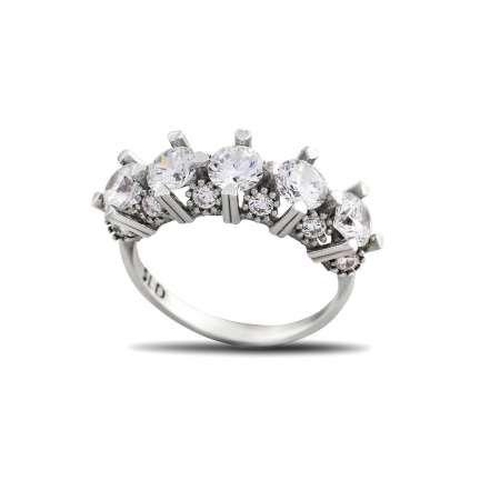 Starlight Diamond Pırlanta Montür Kalp Tasarım 925 Ayar Gümüş Kadın Beştaş Yüzük - Thumbnail