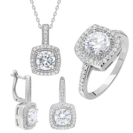 Starlight Diamond Pırlanta Montür Kare Baget Taşlı 925 Ayar Gümüş 3'lü Takı Seti - Thumbnail