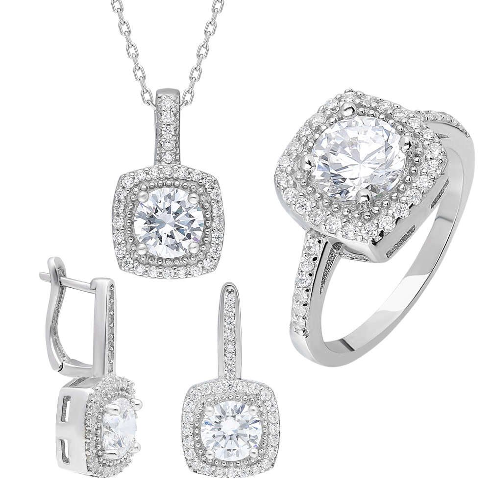 Starlight Diamond Pırlanta Montür Kare Baget Taşlı 925 Ayar Gümüş 3'lü Takı Seti