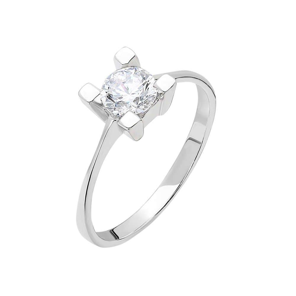 Starlight Diamond Pırlanta Montür Kare Tasarım 925 Ayar Gümüş Bayan Tektaş Yüzük