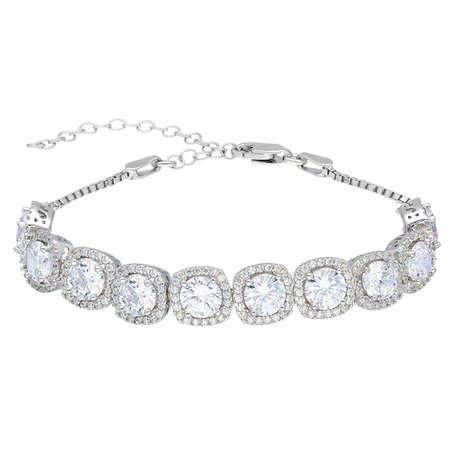 Starlight Diamond Pırlanta Montür Kare Tasarım 925 Ayar Gümüş Su Yolu Bileklik - Thumbnail