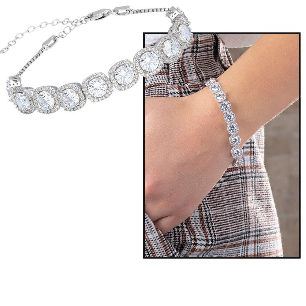 Starlight Diamond Pırlanta Montür Kare Tasarım 925 Ayar Gümüş Su Yolu Bileklik