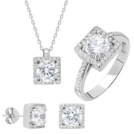 Starlight Diamond Pırlanta Montür Kare Tektaş 925 Ayar Gümüş 3'lü Takı Seti - Thumbnail