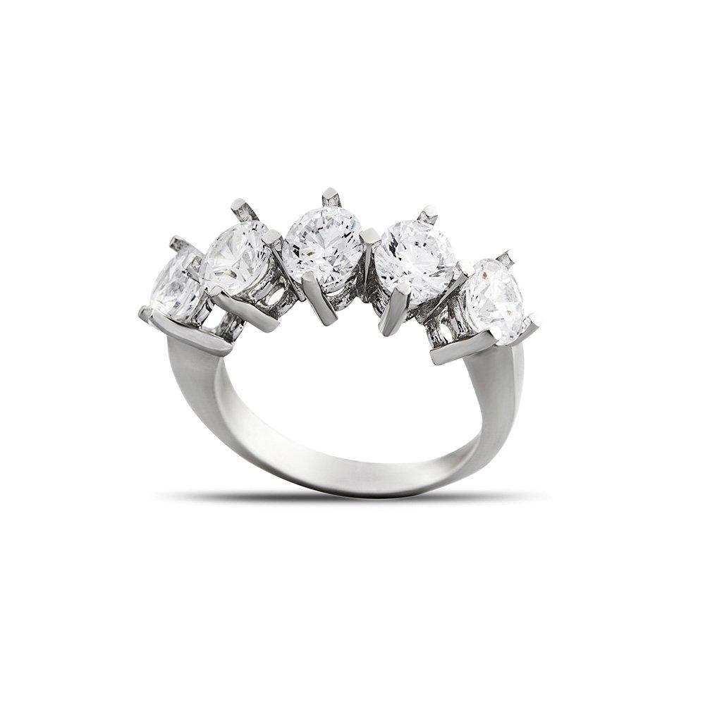 Starlight Diamond Pırlanta Montür Klasik Tasarım 925 Ayar Gümüş Kadın Beştaş Yüzük