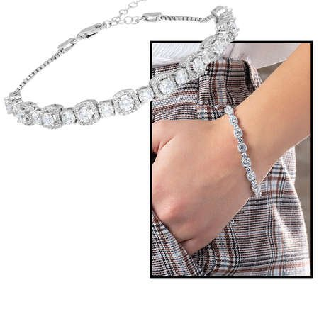 Starlight Diamond Pırlanta Montür Küçük Boy 925 Ayar Gümüş Su Yolu Bileklik - Thumbnail