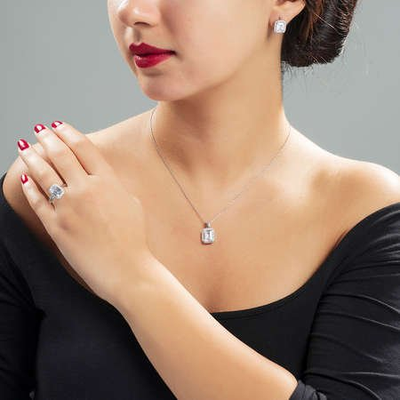 Starlight Diamond Pırlanta Montür Maxi Baget Taşlı 925 Ayar Gümüş 3'lü Takı Seti - Thumbnail
