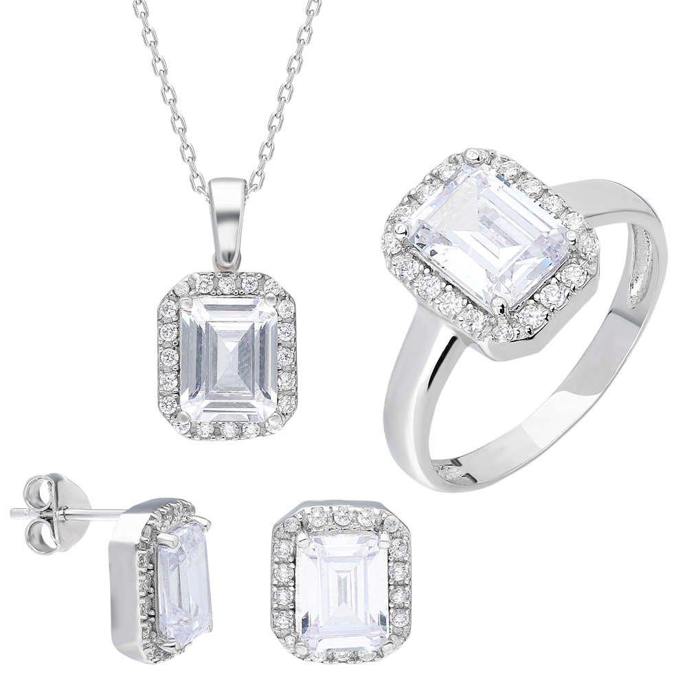 Starlight Diamond Pırlanta Montür Maxi Baget Taşlı 925 Ayar Gümüş 3'lü Takı Seti