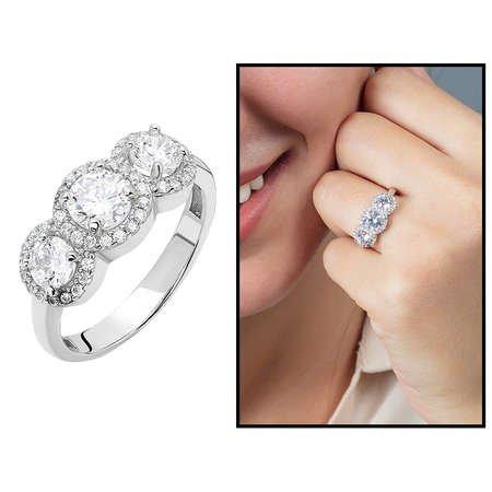 Starlight Diamond Pırlanta Montür Maxi Tasarım 925 Ayar Gümüş Bayan Tria Yüzük - Thumbnail