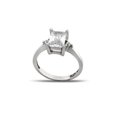 Starlight Diamond Pırlanta Montür Maximal Tasarım 925 Ayar Gümüş Kadın Baget Yüzük - Thumbnail