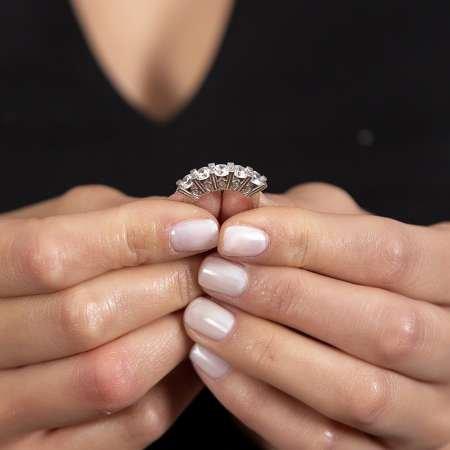 Starlight Diamond Pırlanta Montür Mikro Taşlı Minimal Tasarım 925 Ayar Gümüş Kadın Beştaş Yüzük - Thumbnail