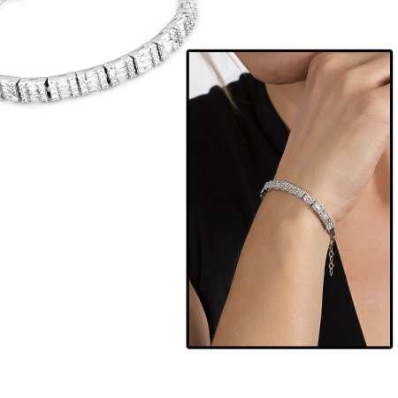 Starlight Diamond Pırlanta Montür Mikro Taşlı Orta Boy 925 Ayar Gümüş Su Yolu Bileklik - Thumbnail