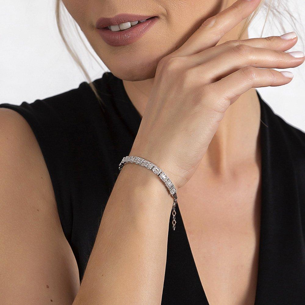 Starlight Diamond Pırlanta Montür Mikro Taşlı Orta Boy 925 Ayar Gümüş Su Yolu Bileklik