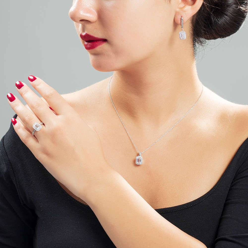 Starlight Diamond Pırlanta Montür Mini Baget Taşlı 925 Ayar Gümüş 3'lü Takı Seti