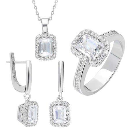 Starlight Diamond Pırlanta Montür Mini Baget Taşlı 925 Ayar Gümüş 3'lü Takı Seti - Thumbnail