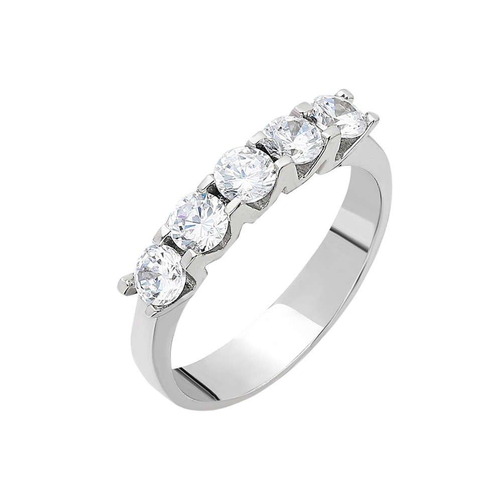 Starlight Diamond Pırlanta Montür Mini Tasarım 925 Ayar Gümüş Bayan Beştaş Yüzük
