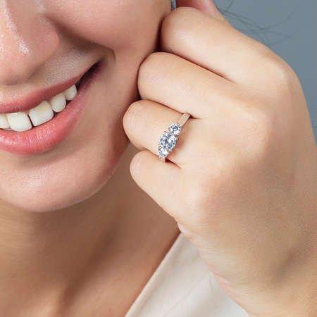 Starlight Diamond Pırlanta Montür Mini Tasarım 925 Ayar Gümüş Bayan Tria Yüzük - Thumbnail