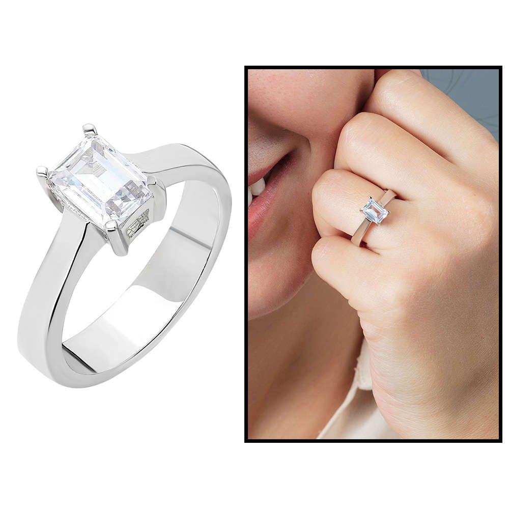 Starlight Diamond Pırlanta Montür Minimal Tasarım 925 Ayar Gümüş Bayan Baget Yüzük